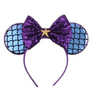 Minnie Mouse Mermaid Iridescent Headband with Bow